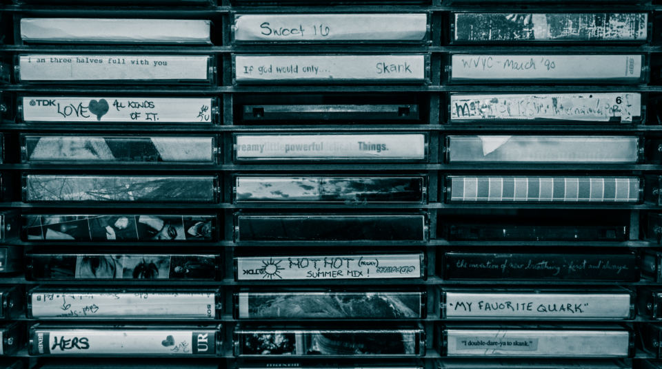 rack of tapes