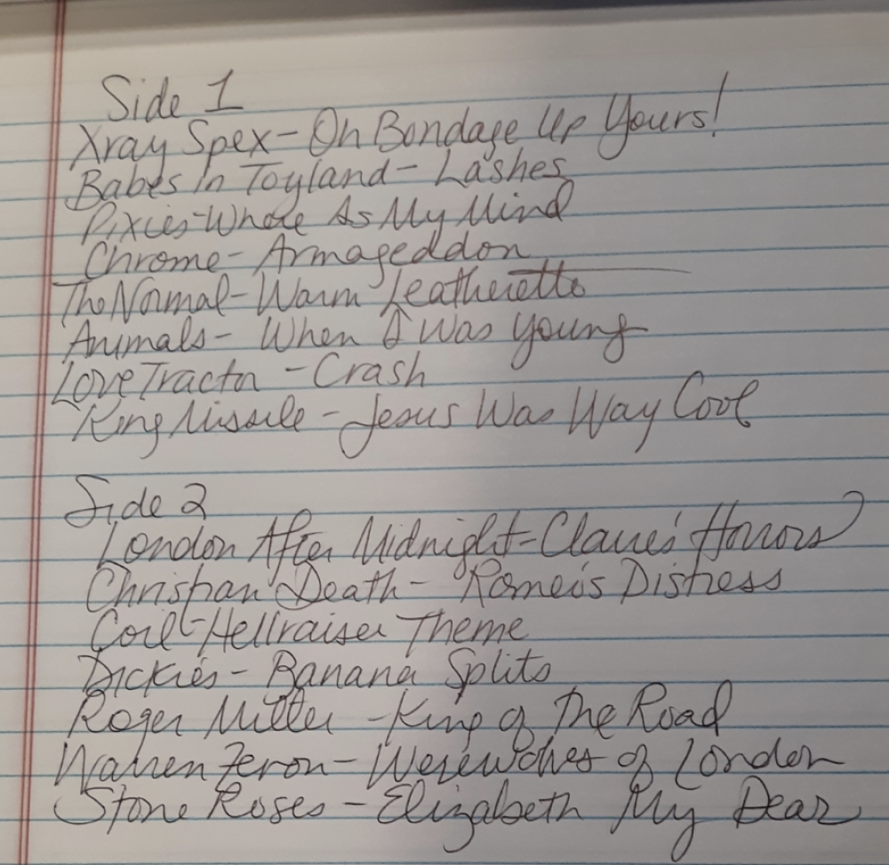 Handwritten track list from mix tape